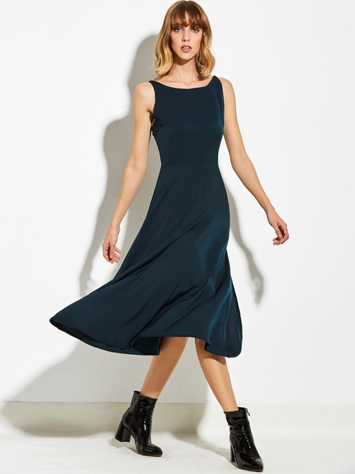 Plain Cross Back Split Women's Day Dress