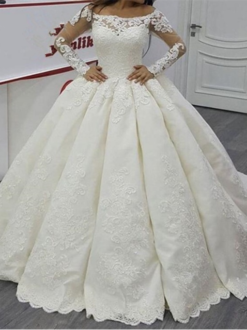 Long Sleeves Appliques Ball Gown Wedding Dress