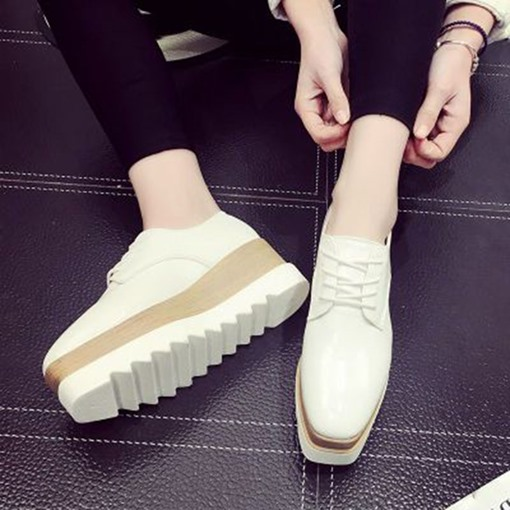 Square Toe Lace-Up Color Block Women's White Platform Sneakers