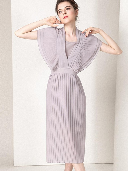 Light Pink Pleated Women's Day Dress