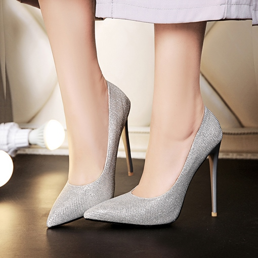 Pointed Toe Slip-On Stiletto Heel Mesh Women's Plain Pumps