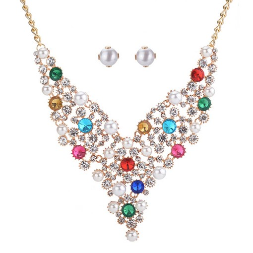Pearl Colorful Rhinestone Inlaid Jewelry Sets