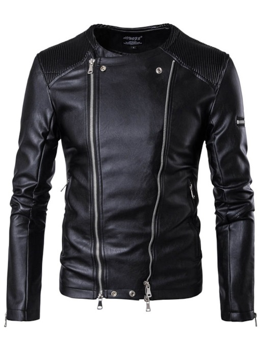 Stand Collar Zipper Slim Men's Motor Jacket
