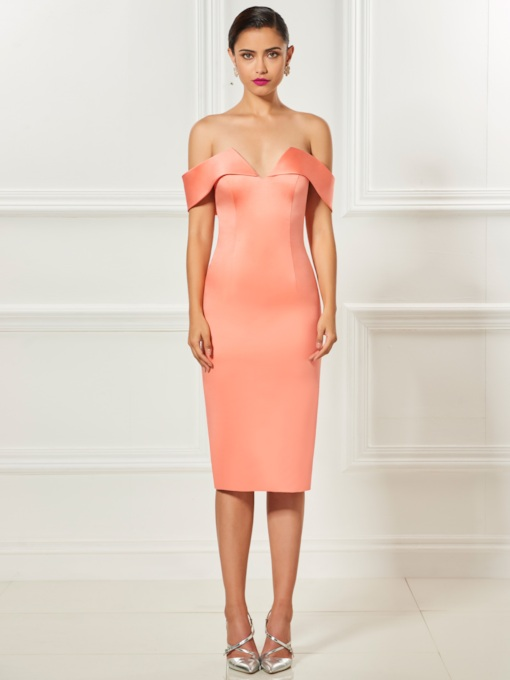 Sheath Off-the-Shoulder Tea-Length Zipper-Up Cocktail Dress