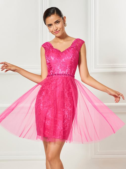 Beaded Sheath V-Neck Lace Sashes Mini Cocktail Dress