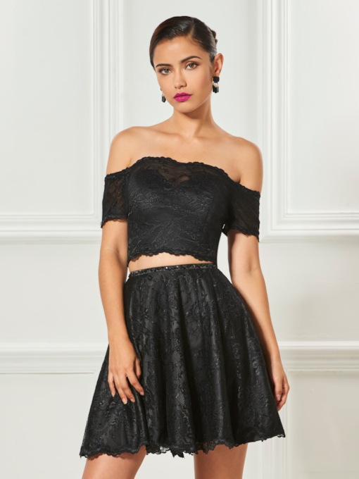 Off-the-Shoulder Lace A-Line Beaded Sashes Short Cocktail Dress