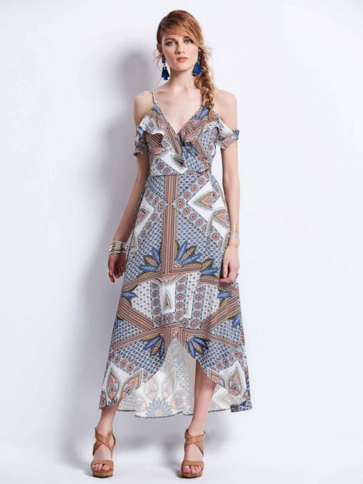 Split Cold Shoulder Women's Maxi Dress