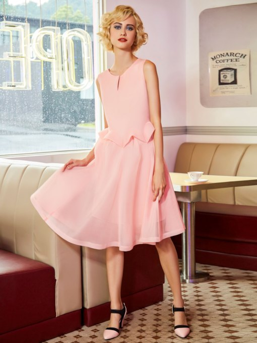 Pink Sleeveless Double-Layered Women's Day Dress