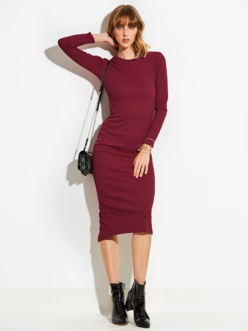 Plain Back Split Women's Sheath Dress