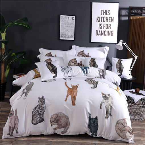 Cats Animal Printed 3D 4-Piece Bedding Sets/Duvet Covers