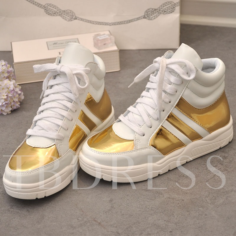 Platform Lace-Up Color Block Mesh Women's Sneakers