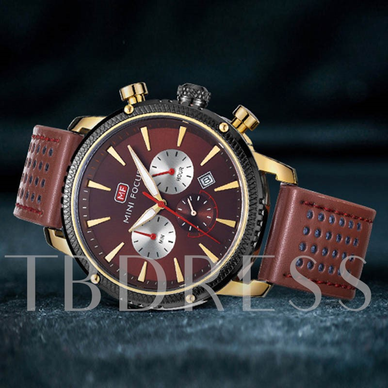 Calendar Display Hardlex Three Eye Table Quartz Alloy Men's Watches