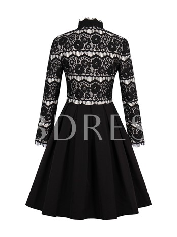 Lace Patchwork Black Women's Long Sleeve Dress