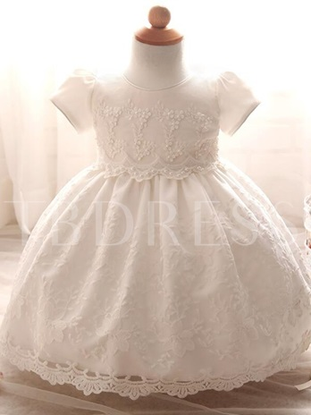 Round Neck Short Sleeve Lace Christening Gown