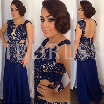 Sheath Beading Hollow Lace Scoop Backless Floor-Length Evening Dress