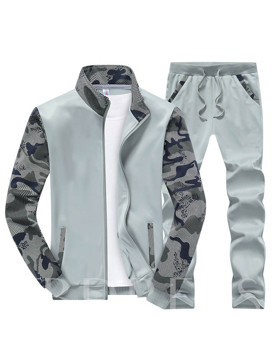 Buy Camouflage Patchwork Slim Men's Long Sports Suit, Spring,Fall, 12902329 for $28.99 in TBDress store