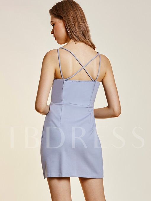 V-Neck Hollow Backless Women's Sheath Dress