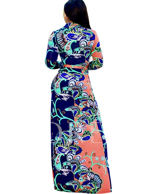 V Neck Long Sleeve Printing Women's Maxi Dress