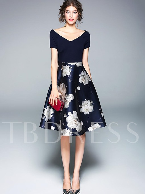 Dark Blue Flowers Printed Women's Day Dress