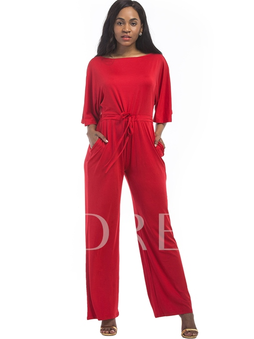 Plain Wide Legs Pleated Women's Jumpsuit