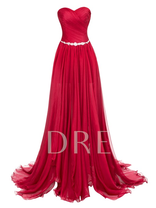 Sweetheart Zipper-Up Split-Front Floor-Length Evening Dress