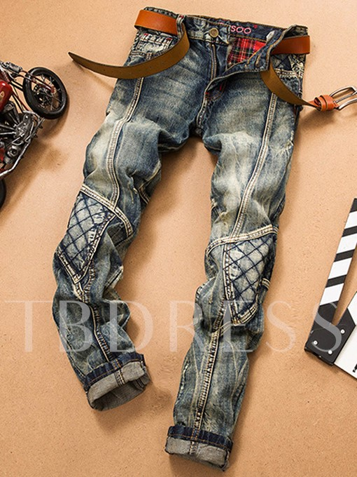 Patchwork Hole Worn Straight Men's Vogue Jeans