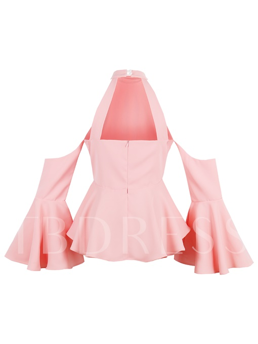 Stand Collar Cold Shoulder Women's Blouse