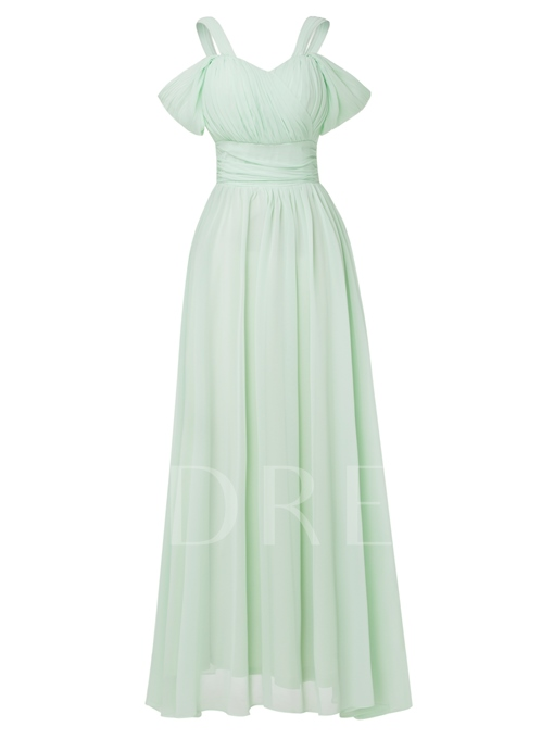 A-Line Open Shoulder Pleated Chiffon Evening Dress