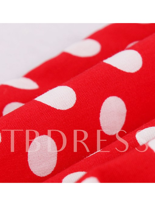 Polka Dots Red Back Zipper Women's Pencil Dress