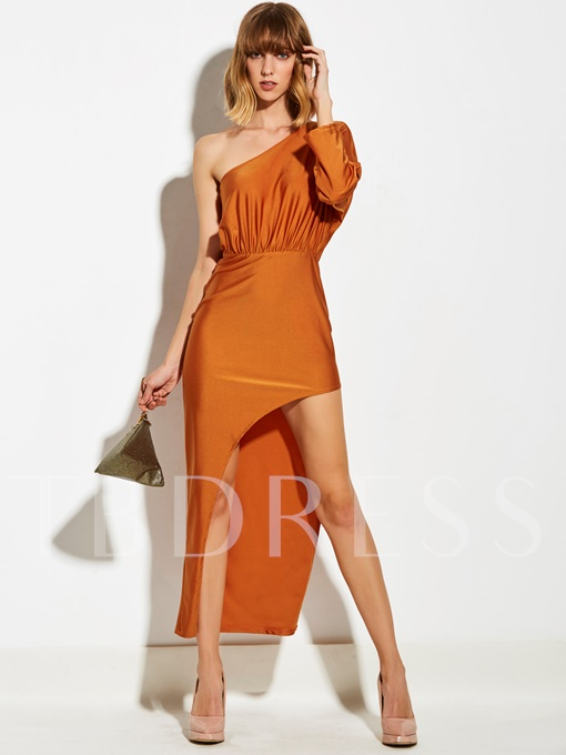 Orange Red One Shoulder Women's Maxi Dress