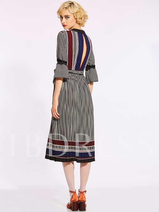 V-Neck Color Block Stripe Backless Women's Day Dress