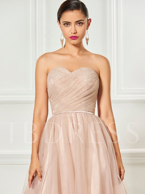 Sweetheart Lace Ruched Sashes Knee-Length Cocktail Dress