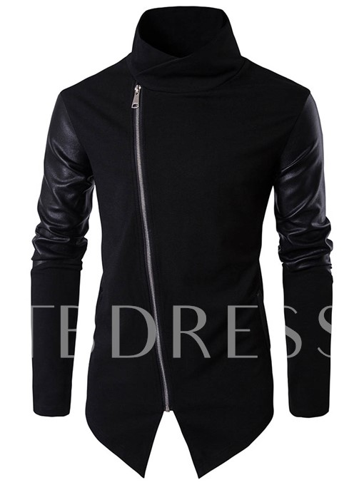 Stand Collar Irregular Patchwork Inclined Zipper Slim Men's Jacket