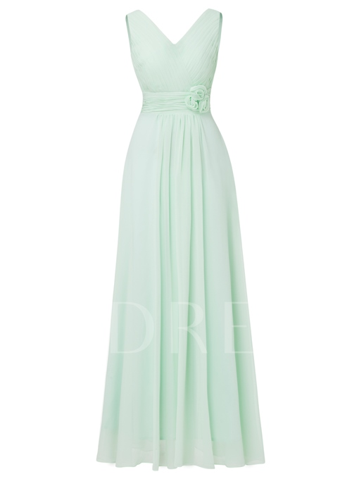 V-Neck Lace-Up Flowers A-Line Long Evening Dress