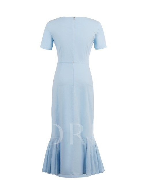 Light Blue Ruffled Fishtail Women's Sheath Dress