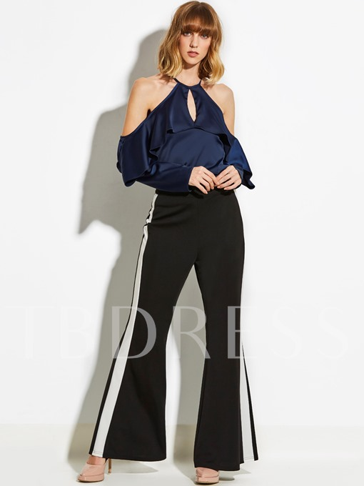 Stripe Slim Full Length Patchwork Women's Bellbottoms