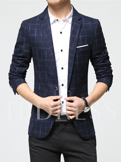 Notched Collar Plaid One Button Casual Slim Fit Thin Men's Blazer