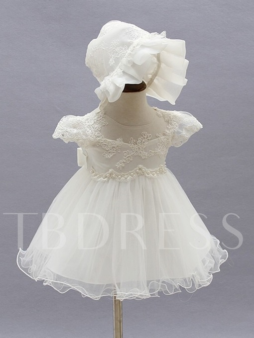 Tulle A Line Cap Sleeves Christening Dress