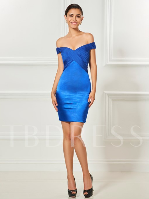 Sheath Off-the-Shoulder Button Lace Ruched Cocktail Dress