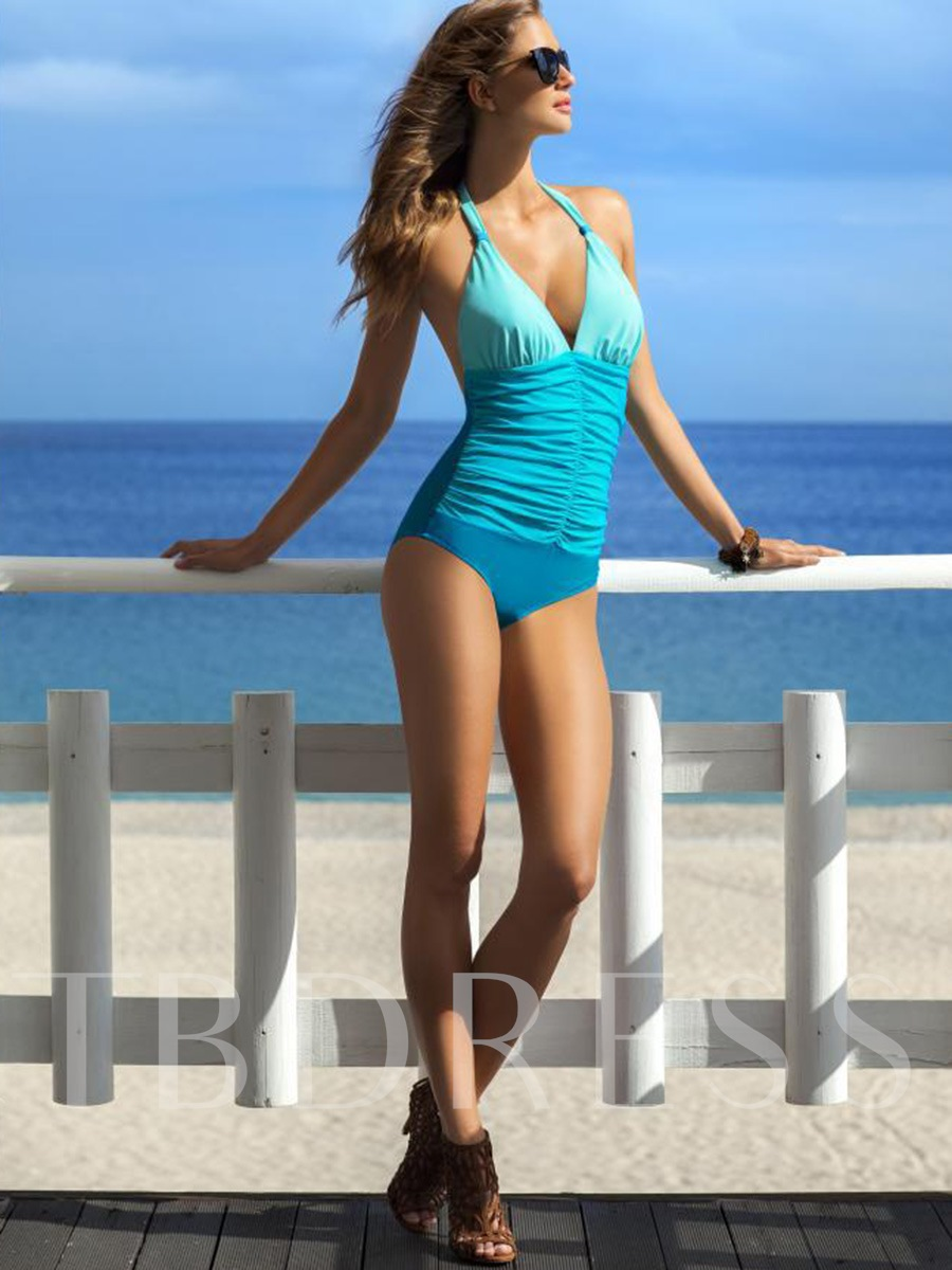 V-Neck Color Block Pleated One Piece Swimsuit (Plus Size Available)