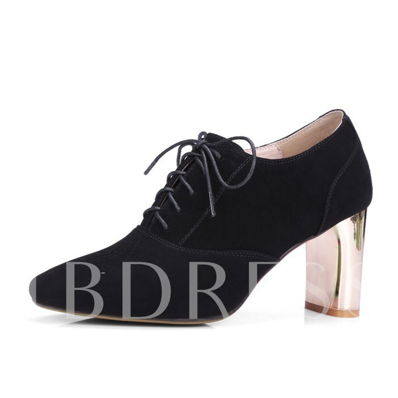 Nubuck Leather Lace-Up Hollow Chunky Heel Square Toe Women's Pumps