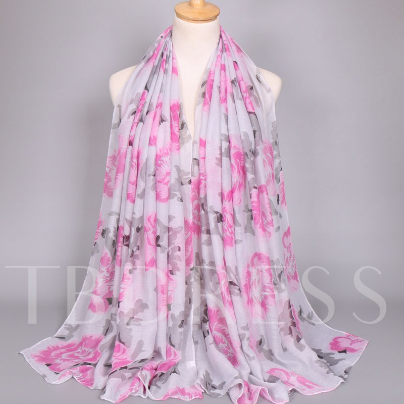Voile Chinese Style Peony Scarfs