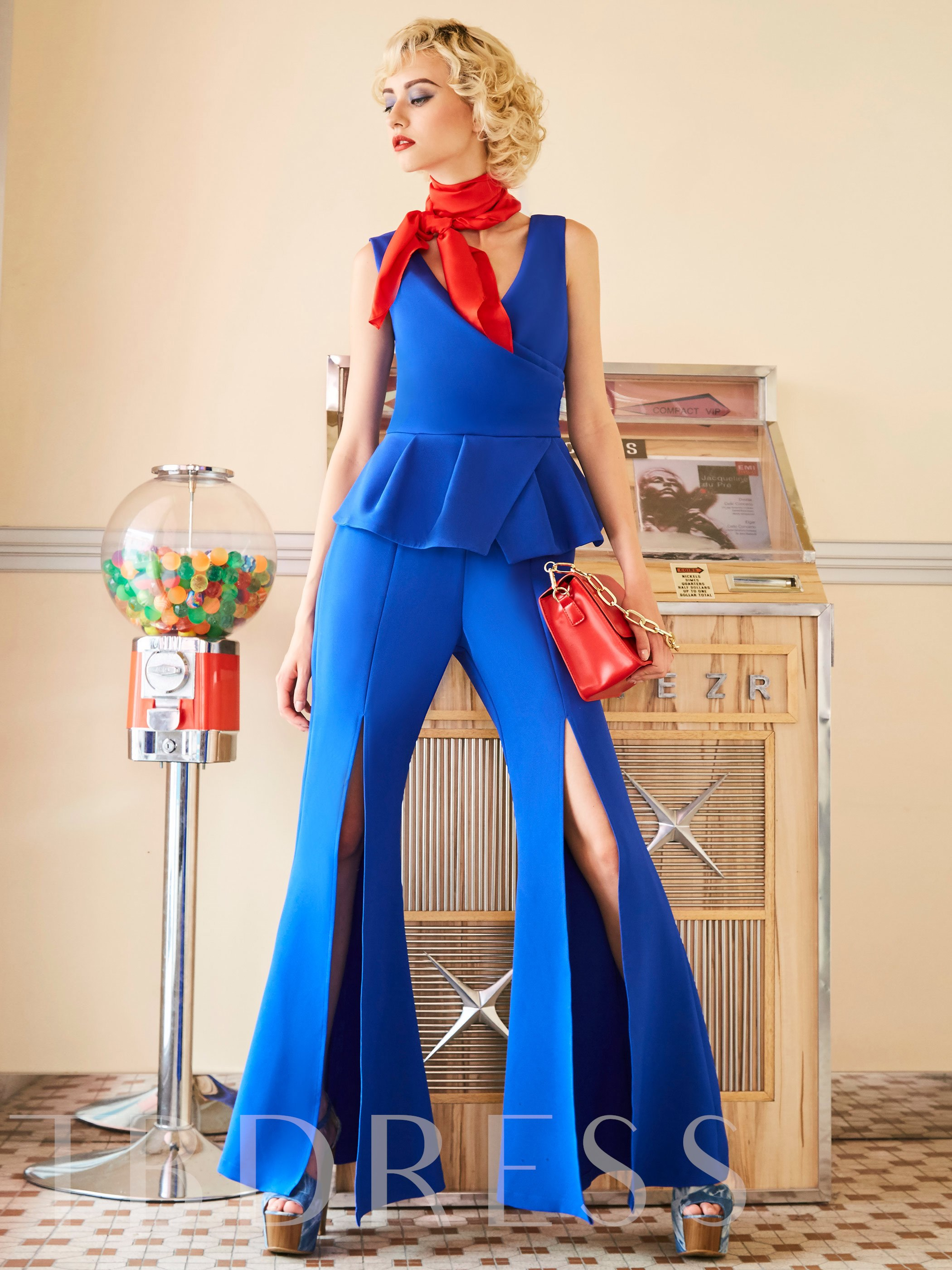 Buy Slim Plain Full Length Women's Jumpsuit, Clocolor, 12887853 for $9.99 in TBDress store