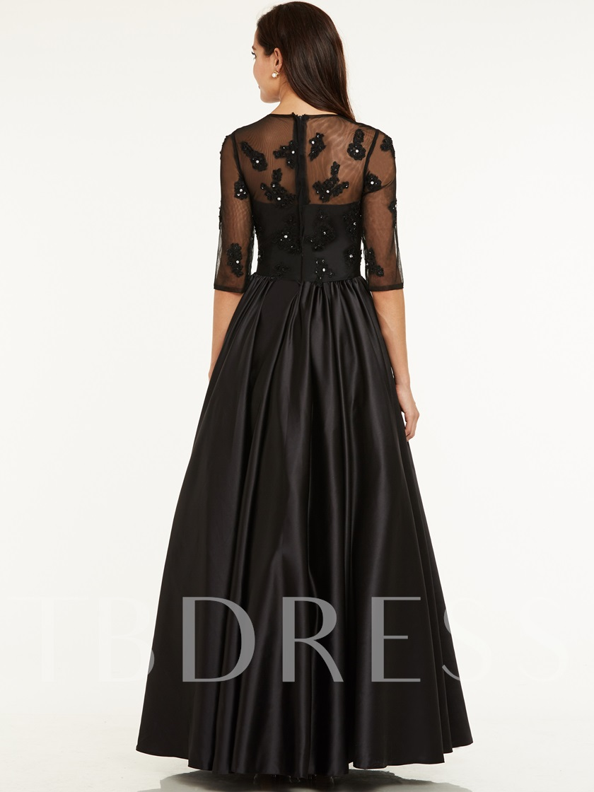 Scoop Neck Beaded Half Sleeves A Line Evening Dress