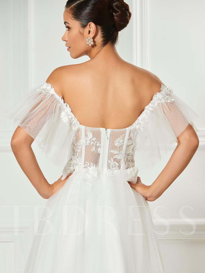 Off-the-Shoulder Lace A-Line Tulle Cocktail Dress