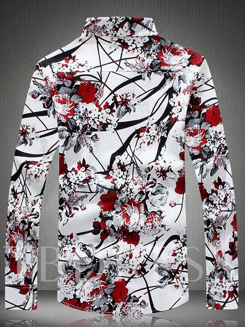 Square Neck Chinese Wind Printed Slim Men's Shirt