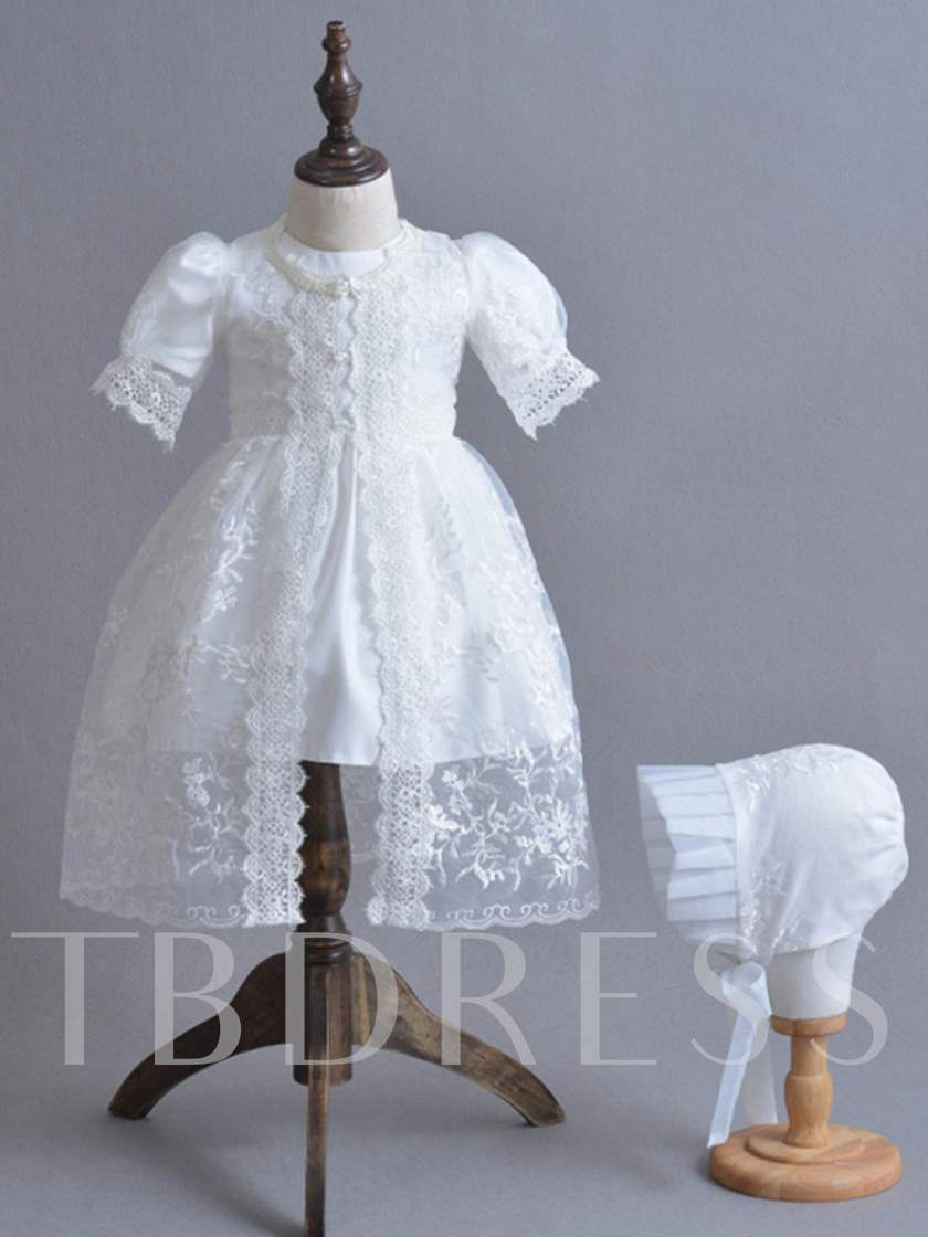 Lace Sleeves Baby Girl's Christening Gown with Hat
