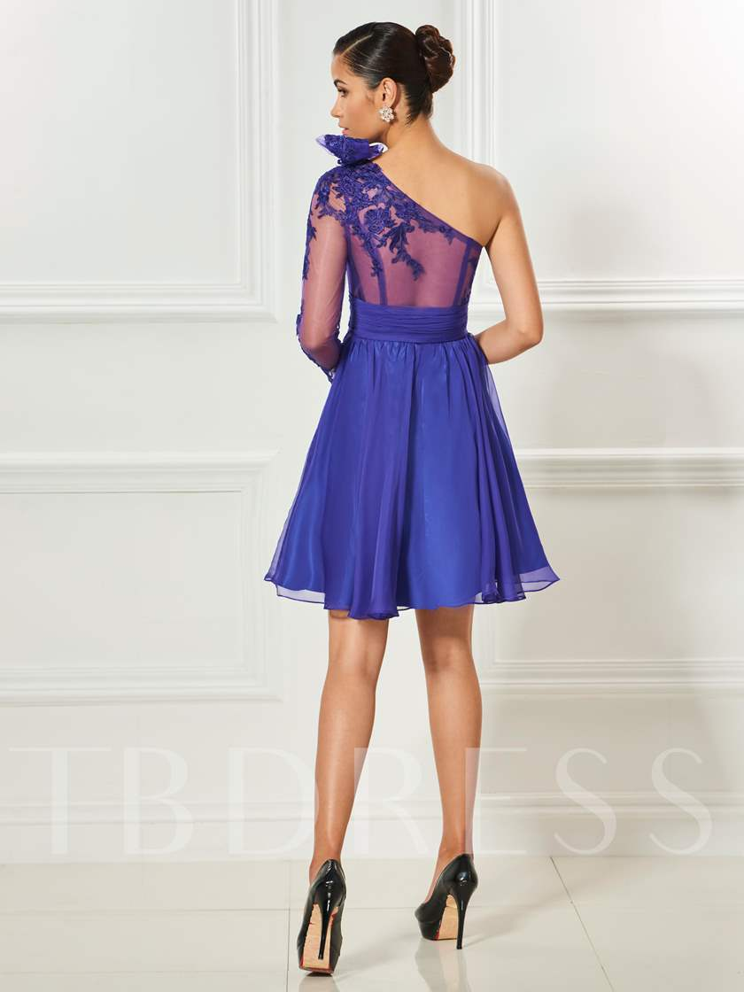 One-Shoulder Appliques Long Sleeves A-Line Bowknot Short Cocktail Dress