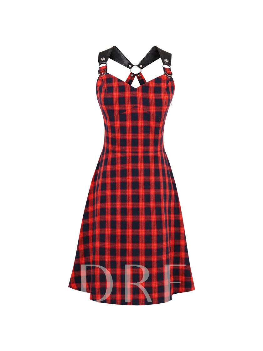 Plaid Pu Strap Women's Day Dress