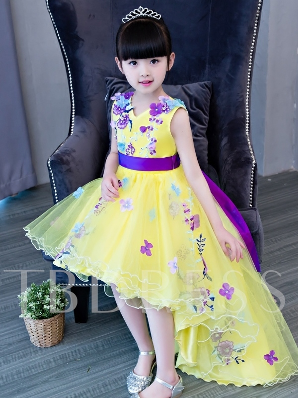 V-Neck Appliques High Low Flower Girl Dress